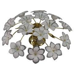 Murano Glass White Flower Ceiling Light or Chandelier by Honsel Leuchten, 1970s