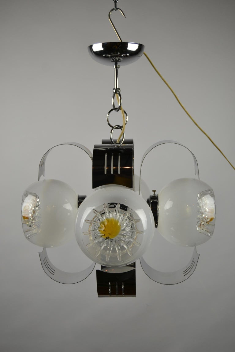Italian Murano Glass with Chrome Chandelier by A.V. Mazzega, Italy, 1970s For Sale