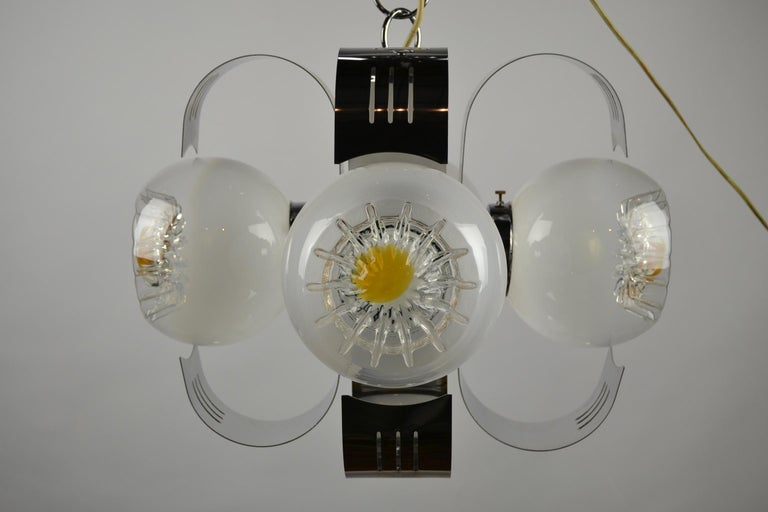 Murano Glass with Chrome Chandelier by A.V. Mazzega, Italy, 1970s In Good Condition For Sale In Antwerp, BE