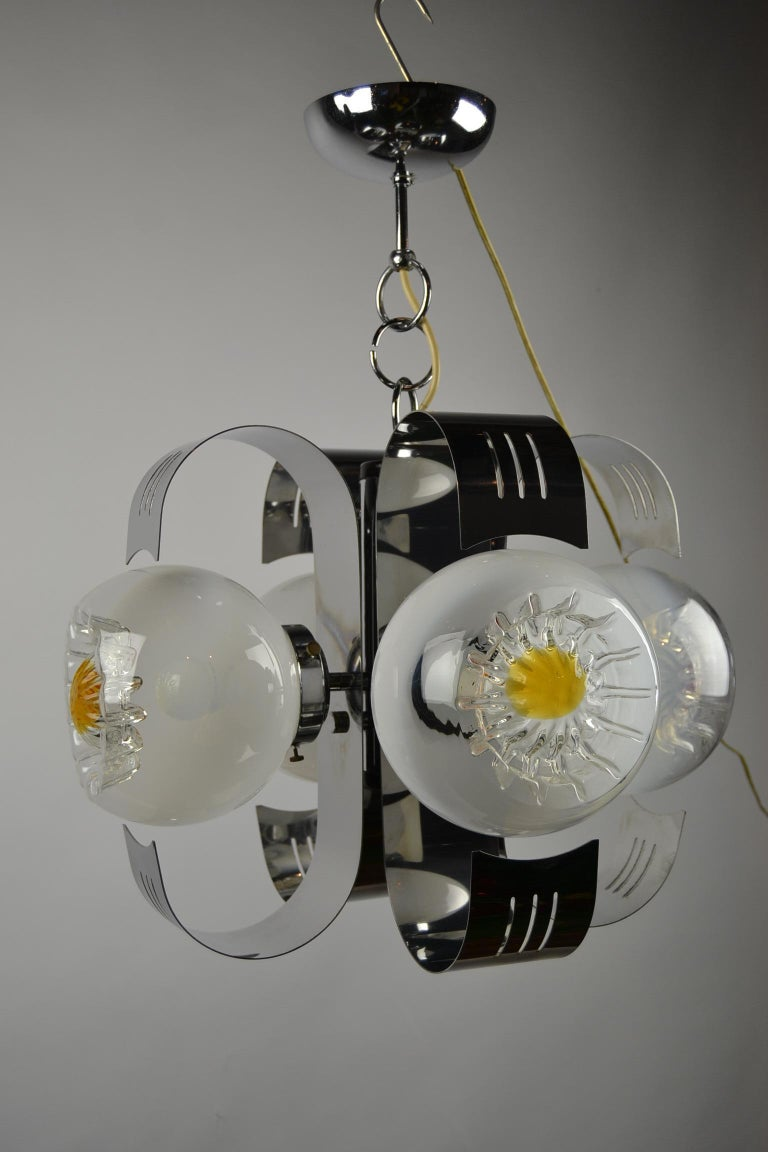 20th Century Murano Glass with Chrome Chandelier by A.V. Mazzega, Italy, 1970s For Sale