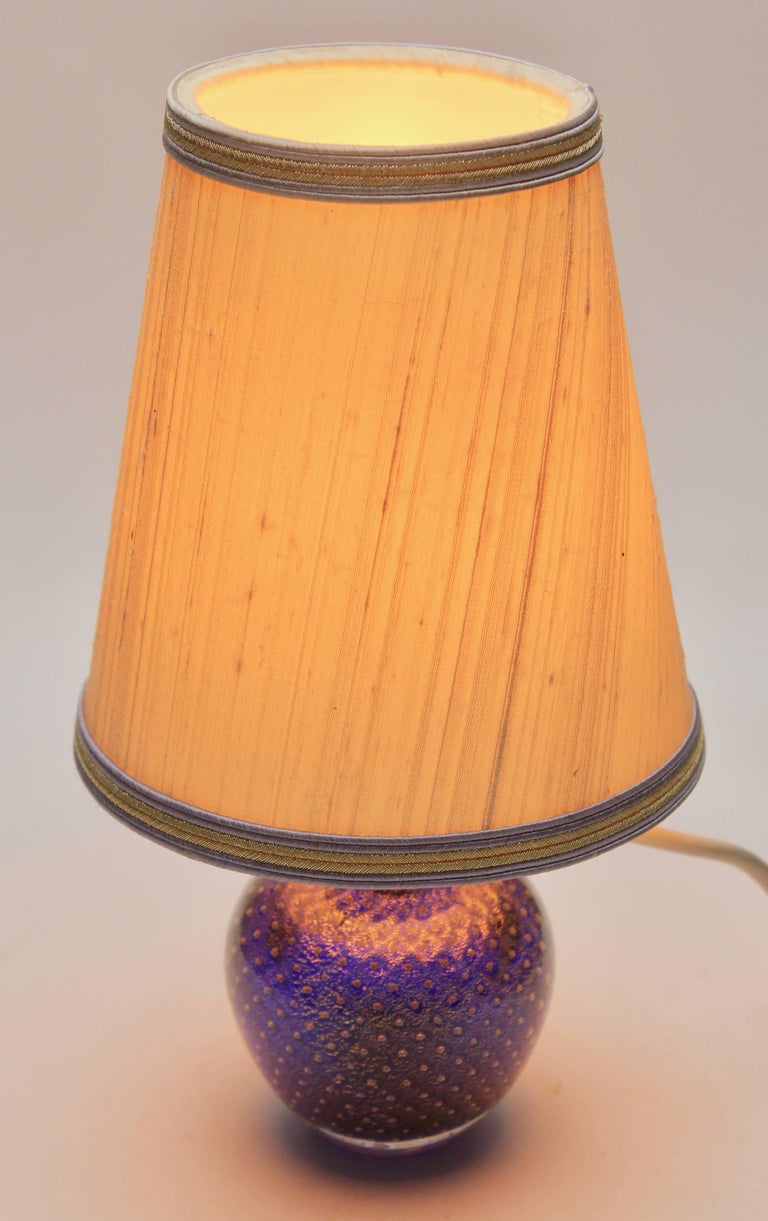 Mid-Century Modern Murano Globe-Shaped Lamp Cobalt Blue with Aventurine 'Gold Metal' and Bullicante For Sale