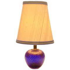 Murano Globe-Shaped Lamp Cobalt Blue with Aventurine 'Gold Metal' and Bullicante