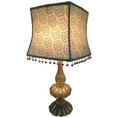 Murano Gold Blown Glass Table Lamp with Custom Shade