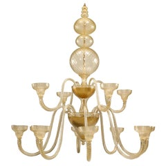 Murano Gold Dusted Glass Ballotton Chandelier
