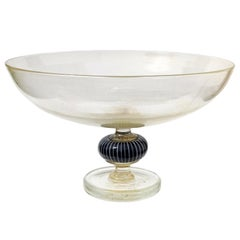 Murano Gold Flecks Black White Italian Art Glass Footed Compote Centerpiece Bowl