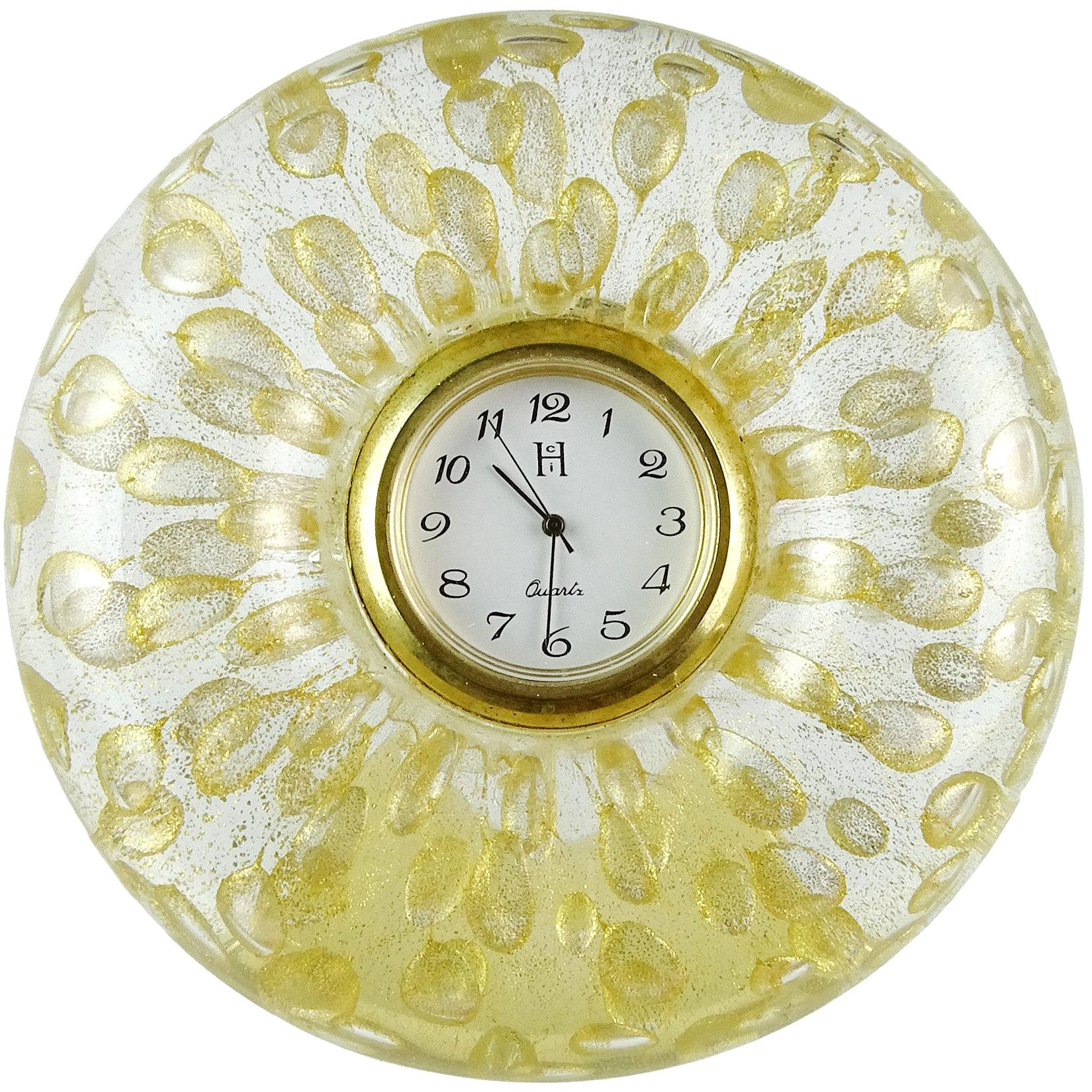 Murano Gold Flecks Bubbles Italian Art Glass Decorative Round Desk Clock