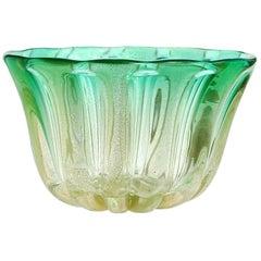 Murano Gold Flecks Green Sommerso Italian Art Glass Decorative Bowl Flower Vase
