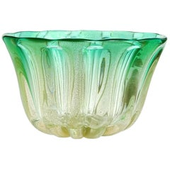 Murano Gold Flecks Green Sommerso Italian Art Glass Decorative Bowl Vase