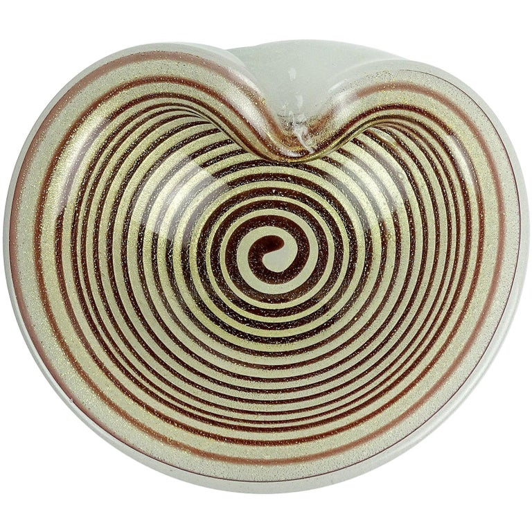 Murano Gold Flecks Optic Swirl Pulegoso Bubbles Italian Art Glass Dish Bowl For Sale