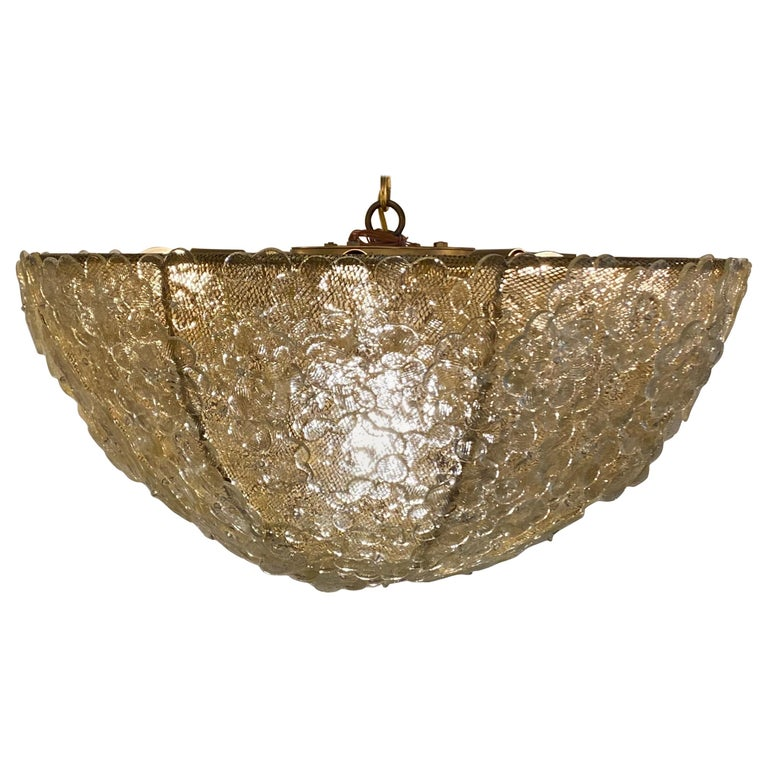Murano Gold Flowers Basket Chandelier For Sale