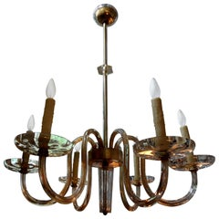Murano Gold Glass Chandelier by Seguso