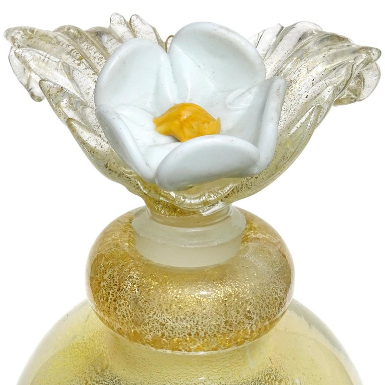 Art Deco Murano Gold Leaf over White Flower Top Italian Art Glass Vanity Perfume Bottle For Sale