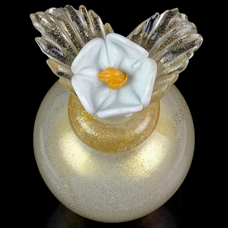 Hand-Crafted Murano Gold Leaf over White Flower Top Italian Art Glass Vanity Perfume Bottle For Sale