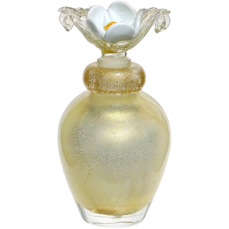 Murano Gold Leaf over White Flower Top Italian Art Glass Vanity Perfume Bottle For Sale