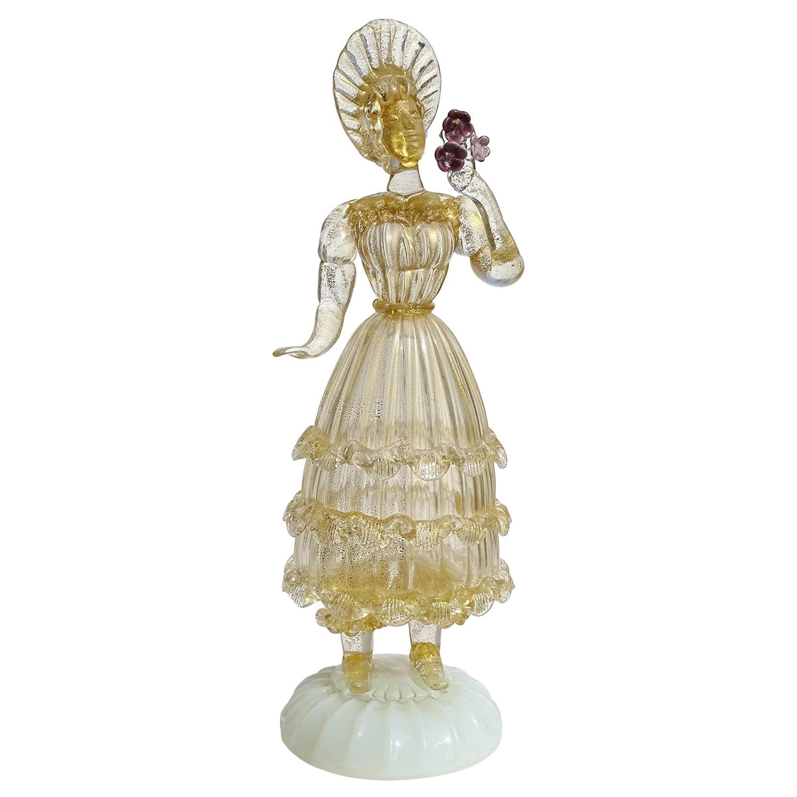 Murano Gold Leaf Queen Holding Flowers Italian Art Glass Woman Sculpture