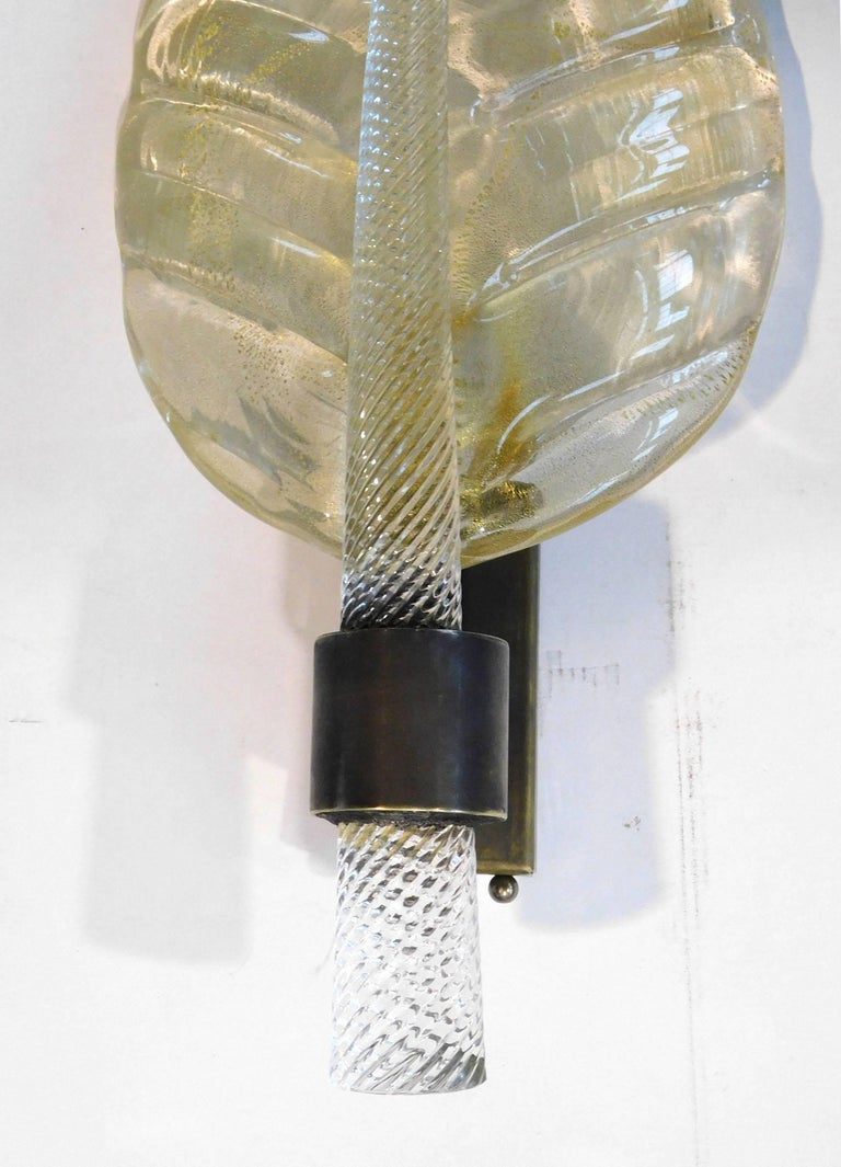 Gold Leaf Sconce by Fabio Ltd In Excellent Condition For Sale In Palm Springs, CA