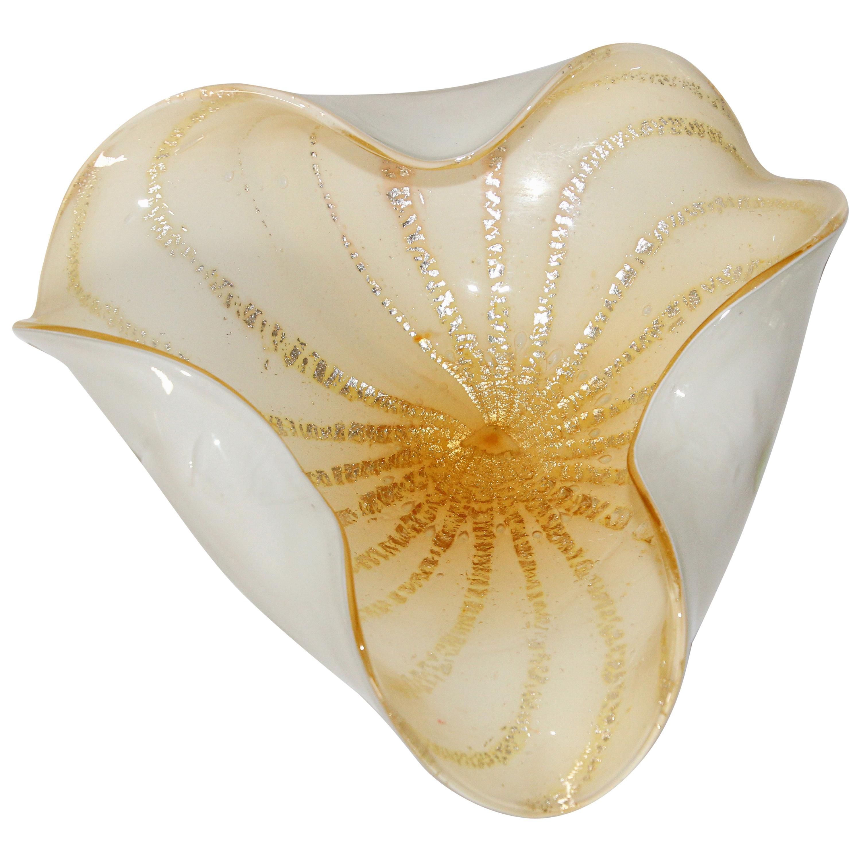 Alfredo Barbini Murano White Gold Venetian Hand Blown Art Glass Bowl