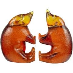 Murano Golden Amber Textured Italian Art Glass Honey Bear Bookend Sculptures