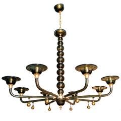 Murano Gray and Gold Mid-Century Modern Eight-Light-Chandelier Venini Style