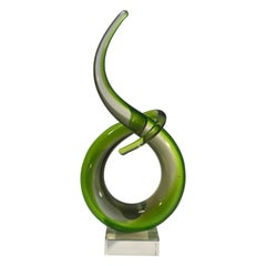 Murano Green Abstract Twist, Italian Entwined Glass Sculpture Midcentury, 1960s