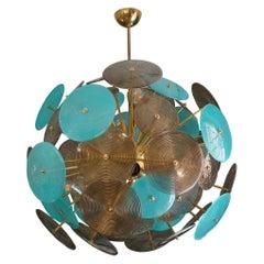Murano Turquoise and Smoked Glass Sputnik Midcentury Chandelier, 1980