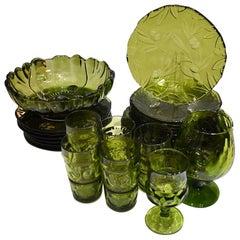Murano Green Art Glass Italian Service Dinnerware Plate Set Italy 28 pieces