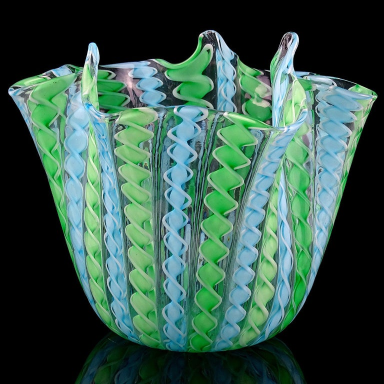 Beautiful Murano hand blown green, blue, and white twisted ribbons Italian art glass handkerchief / fazzoletto vase. In the manner of the Fratelli Toso and Venini companies. Measures: 4 3/4