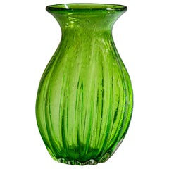 Murano Green Bubbling Glass Vase, 1970s