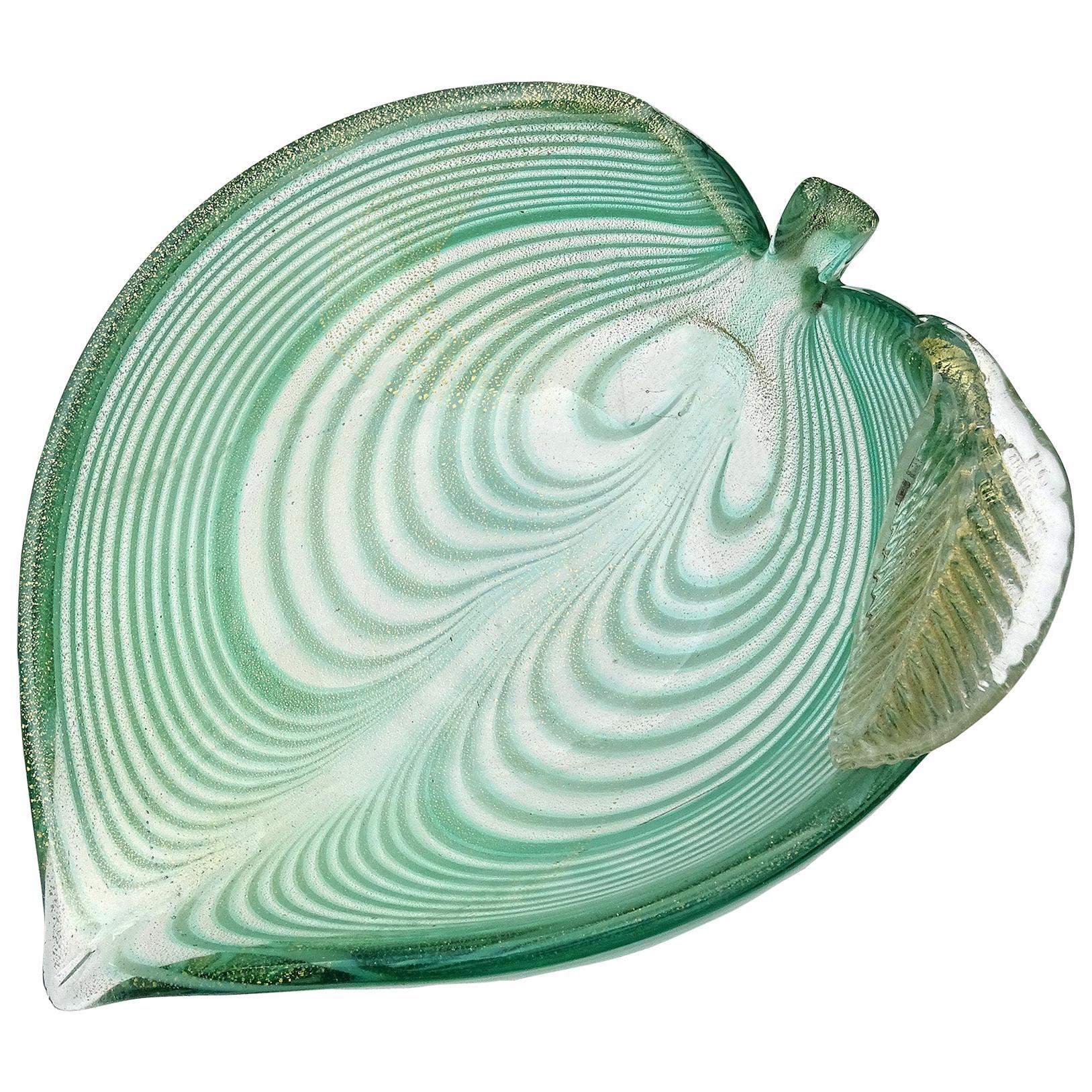 Murano Green Fenicio Pulled Feather Gold Flecks Italian Art Glass Leaf Bowl