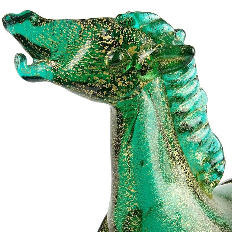 20th Century Murano Green Gold Flecks Italian Art Glass Elegant Art Deco Horse Sculpture For Sale