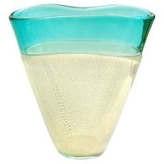 Murano Green Incalmo Rim Opalescent Gold Flecks Italian Art Glass Flower Vase