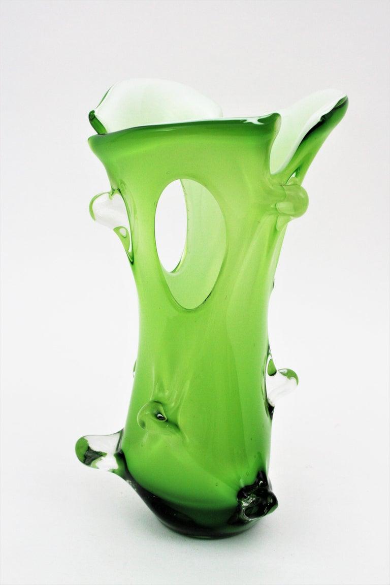 Murano Green Italian Art Glass Forato Vase For Sale 1