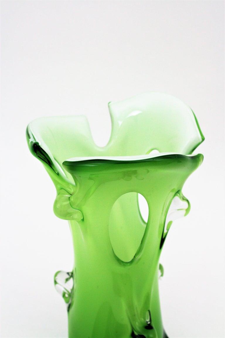 Murano Green Italian Art Glass Forato Vase For Sale 2