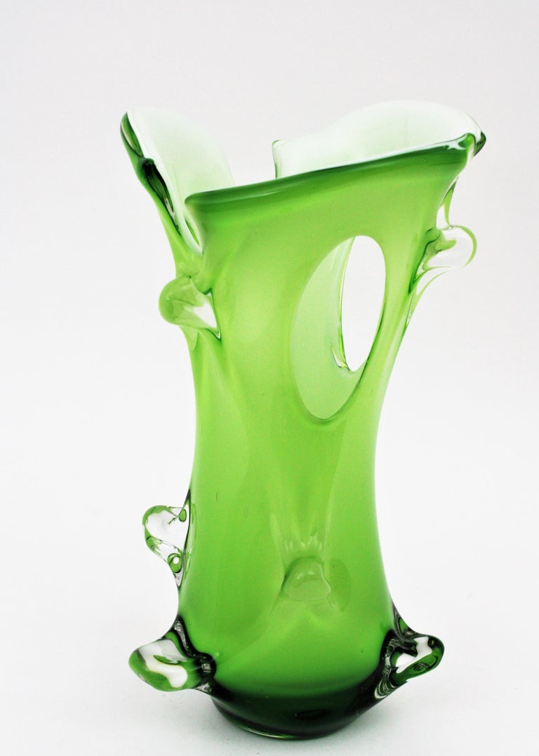Murano Green Italian Art Glass Forato Vase For Sale 3