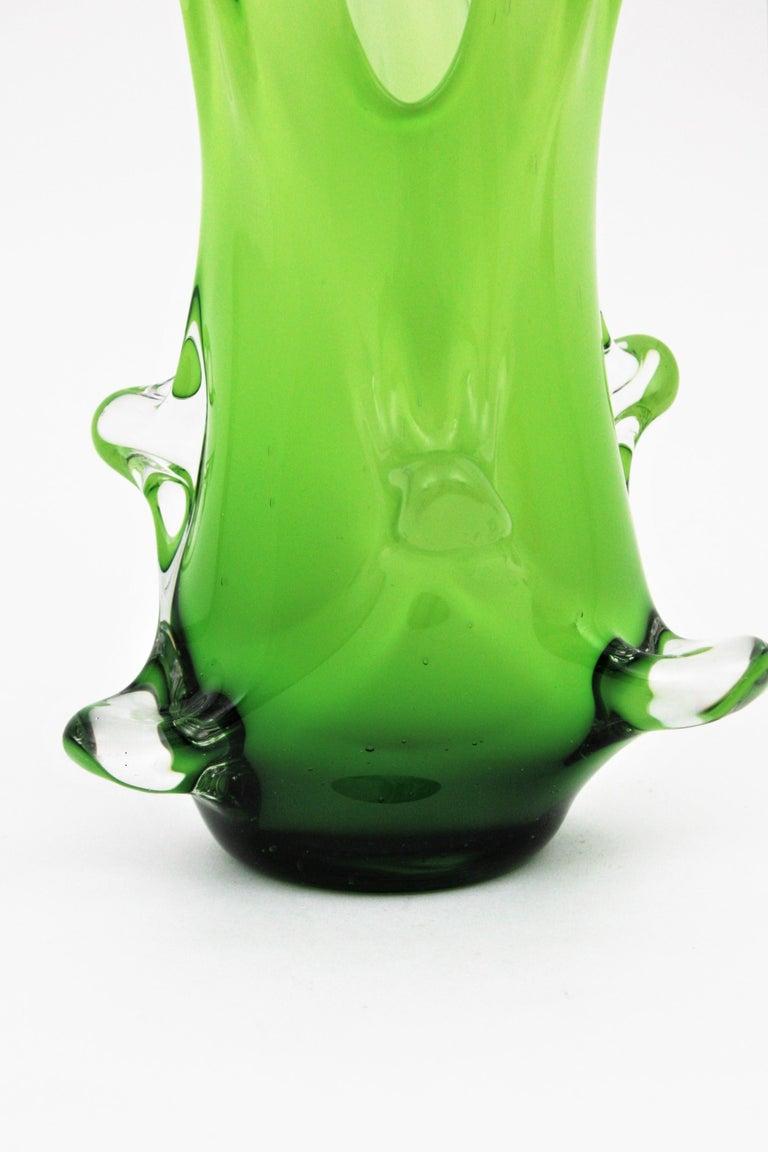 Murano Green Italian Art Glass Forato Vase For Sale 4