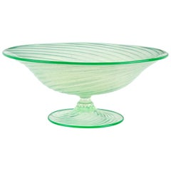 Murano Green Opalescent Gold Flecks Italian Art Glass Footed Compote Bowl