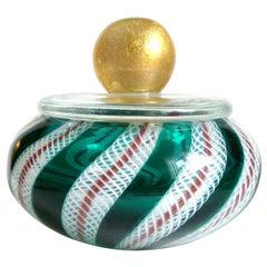 Murano Green White Ribbons Gold Top Italian Art Glass Vanity Powder Jewelry Box