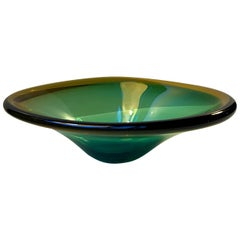 Murano Green and Yellow Centerpiece Dish by Flavio Poli, 1960s