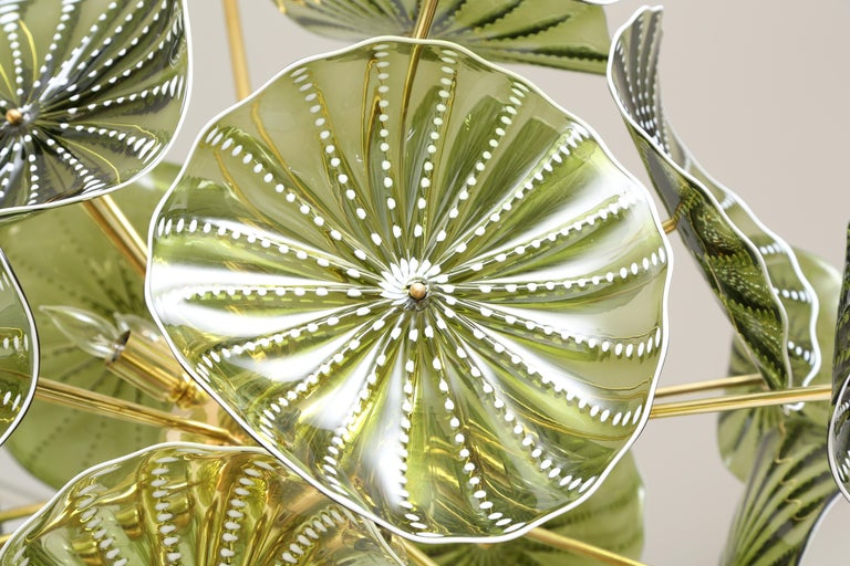 Mid-Century Modern Murano Hand Blown Chartreuse Green Glass Chandelier, in Stock For Sale