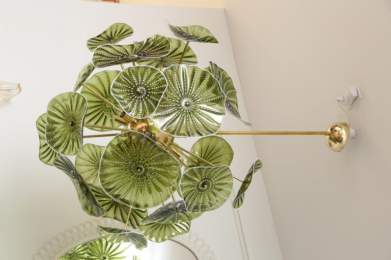 Murano Hand Blown Chartreuse Green Glass Chandelier, in Stock In Excellent Condition For Sale In Miami, FL