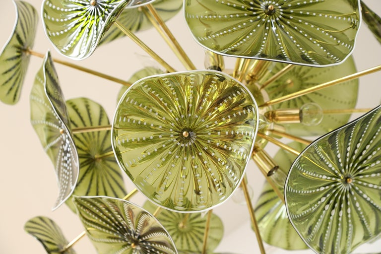 Brass Murano Hand Blown Chartreuse Green Glass Chandelier, in Stock For Sale