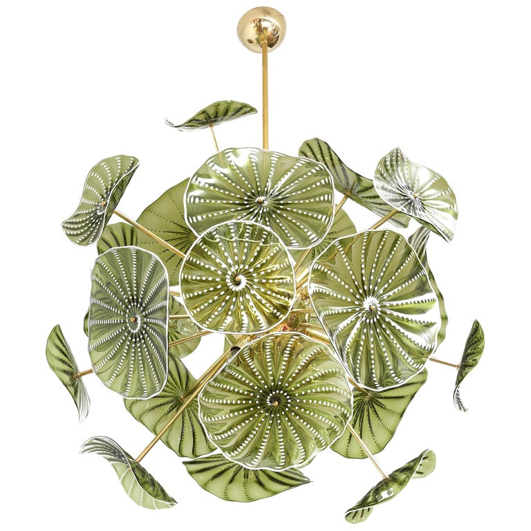 Murano Hand Blown Chartreuse Green Glass Chandelier, in Stock For Sale