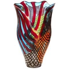 Murano Hand Blown Glass Vase Signed by Lino Tagliapietra