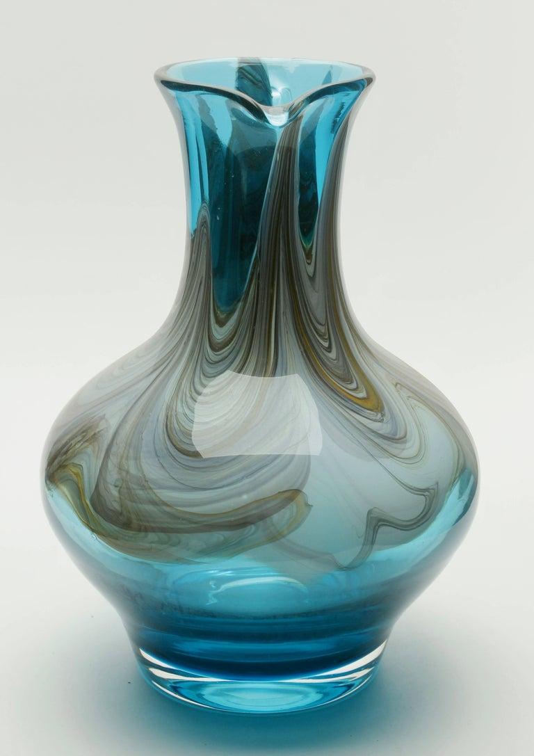 Mid-Century Modern Murano Hand Blown Handle Art Glass Pitcher For Sale