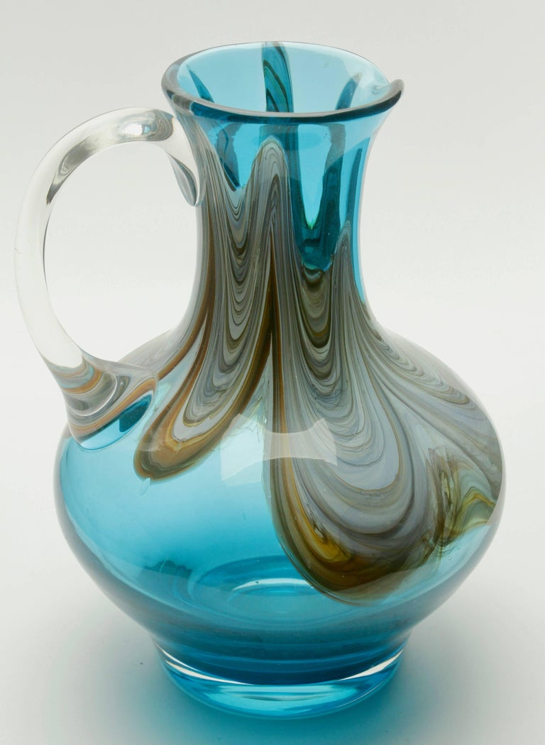 Hand-Crafted Murano Hand Blown Handle Art Glass Pitcher For Sale