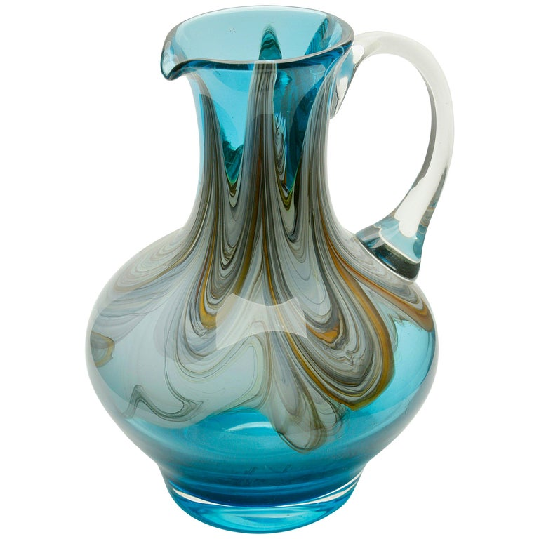 Murano Hand Blown Handle Art Glass Pitcher For Sale