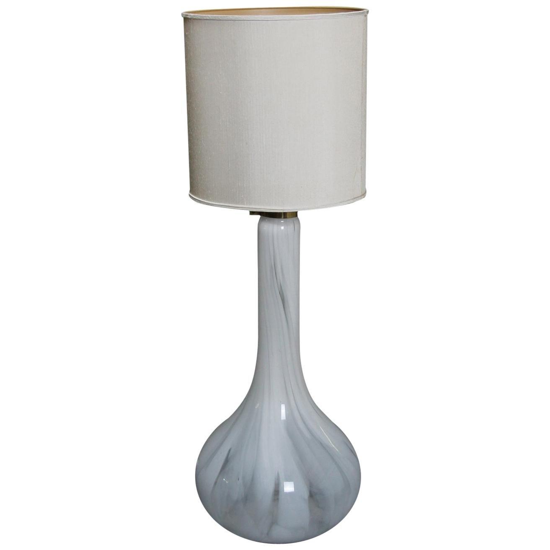 Murano Handblown Glass and Brass Floor Lamp, Italy