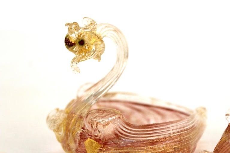 Murano Handblown Glass Swan-Shaped Salt Cellars Attributed to Salviati For Sale 1