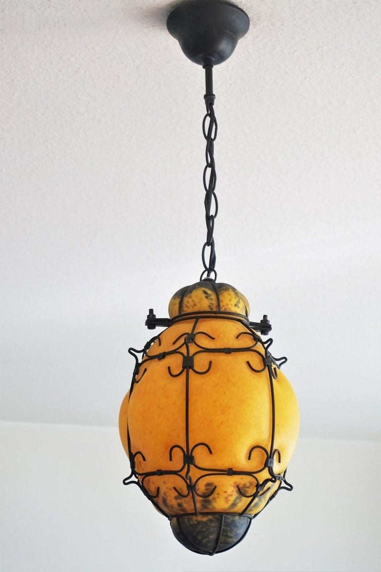 Art Deco Murano Handcrafted Colored Glass Wrought Iron Pendant or Lantern, Venice, Italy For Sale