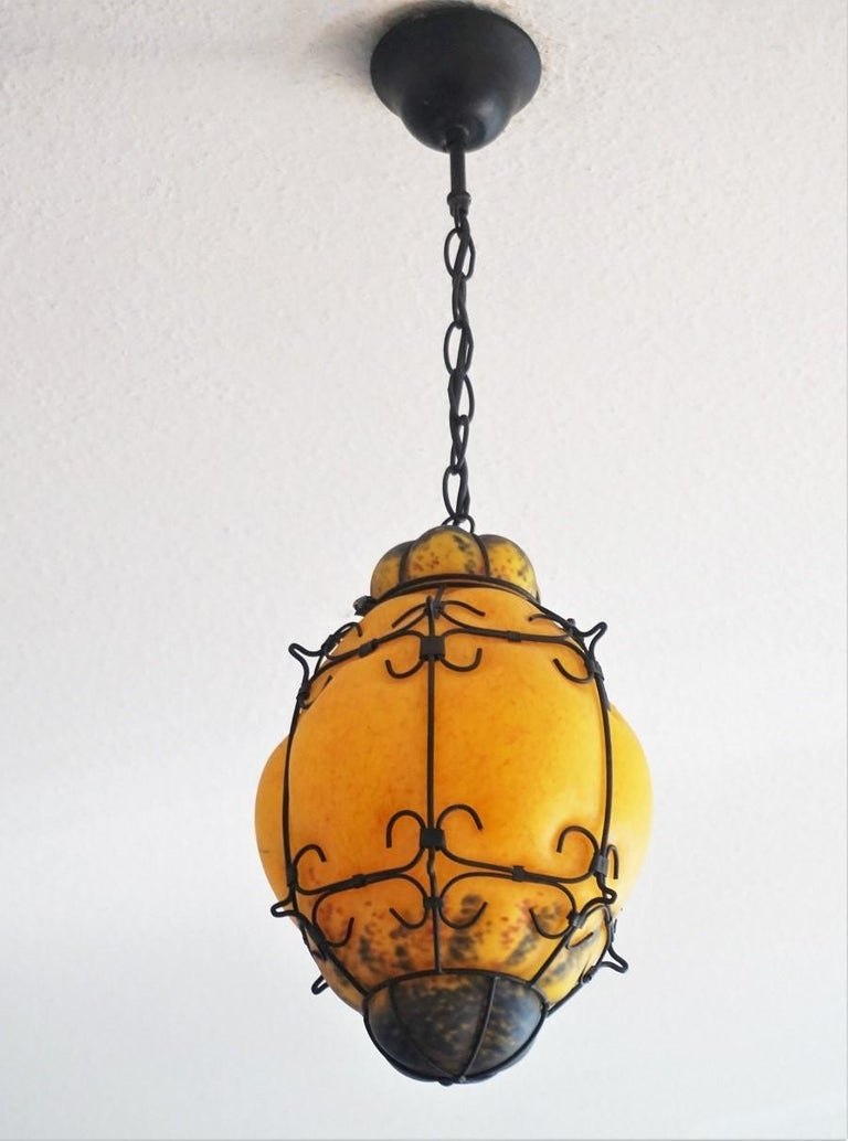 Italian Murano Handcrafted Colored Glass Wrought Iron Pendant or Lantern, Venice, Italy For Sale